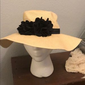 Old navy floppy hat with black flowers